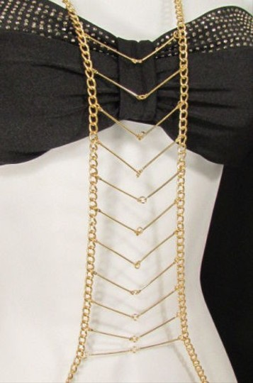 Other Women Gold Metal Body Chain Long Front Necklace Jewelry