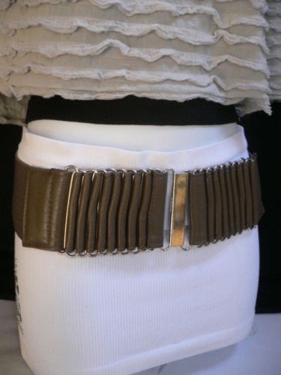 Other Women Wide Waist Hip Gray Fashion Belt Silver Metal Buckle 25-31