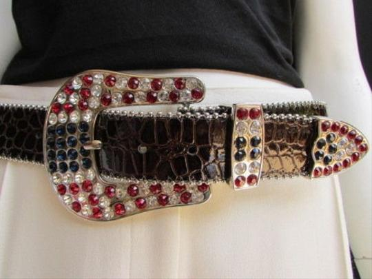 Other Women Black Leather Western Fashion Belt American Flag Big Buckle 36-40