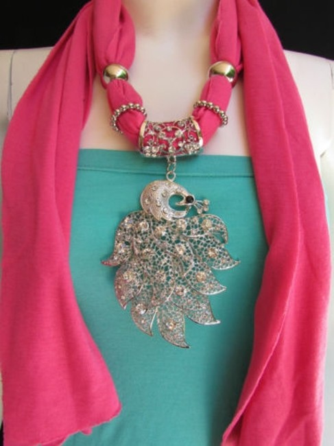 Women Pink Soft Fabric Fashion Scarf Long Necklace Big Silver Peacock Pendant Women Pink Soft Fabric Fashion Scarf Long Necklace Big Silver Peacock Pendant Image 1