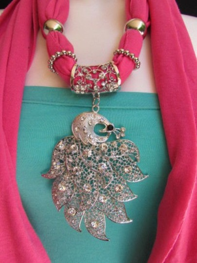 Other Women Pink Soft Fabric Fashion Scarf Long Necklace Big Silver Peacock Pendant