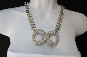Other Women Fashion Necklace Silver Chains Big Infinity Sign 10 Long Rhinestones
