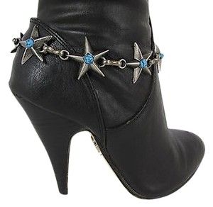 Other Women Fashion Boot Chains Bracelet Strap Silver Metal Turquoise Stars Shoe Charm