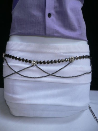Other Women Hip Waist Pewter Metal Chains Fashion Belt Drap Flowers 28-40