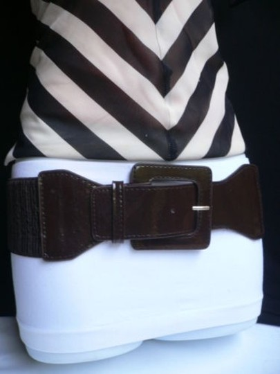 Other Women Elastic Square Buckle Waist Hip Dark Brown Fashion Belt 25-35