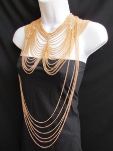 Women Long Two Dressy Necklaces Earring Set Chunky Style Multi Strands