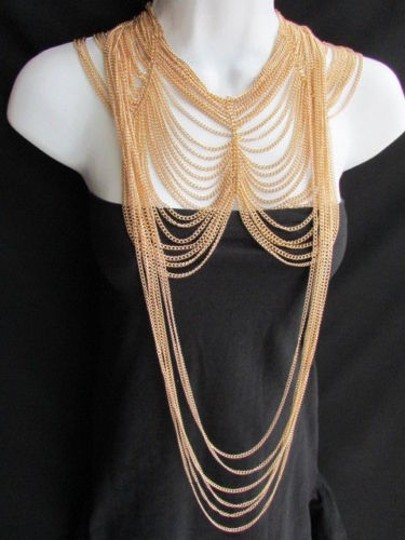 Other Women Long Two Dressy Necklaces Earring Set Chunky Style Multi Strands