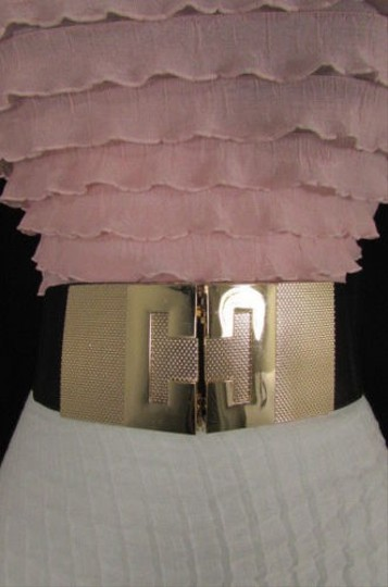 Other Women Black Elastic Fashion Belt Hip High Waist Gold Buckle