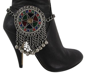 Women Moroccan Fashion Boot Chains Bracelet Strap Silver Bells Large Shoe Charm
