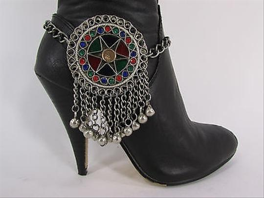 Other Women Moroccan Fashion Boot Chains Bracelet Strap Silver Bells Large Shoe Charm