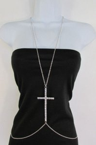 Other Women Silver Metal Body Chain Big Cross Rhinestones Necklace Jewelry