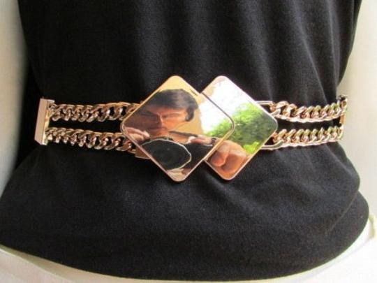 Other Women Waist Hip Gray Fashion Belt Gold Chains Squares Metal Buckle 27-36