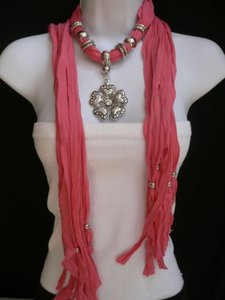 Other Women Coral Fashion Soft Scarf Necklace Heart Flower Silver Bead Pendant