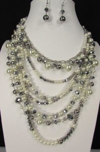 Women Fashion Cream Gray Chains Necklace Set Strands Imitation Pearl Beads
