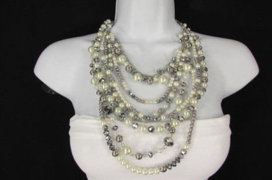 Other Women Fashion Cream Gray Chains Necklace Set Strands Imitation Pearl Beads