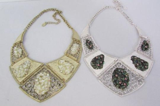 Other Women Gold Silver Stones Metal Plates Fashion Necklace Earrings