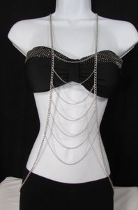Other Women Silver Metal Body Chain Front Necklace Las Vegas Fashion Jewelry
