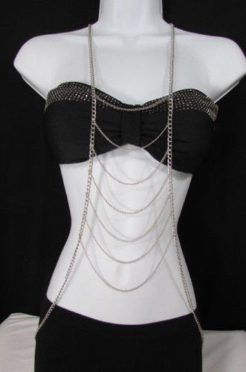 Other Women Silver Body Chain Front Necklace Vegas Jewelry