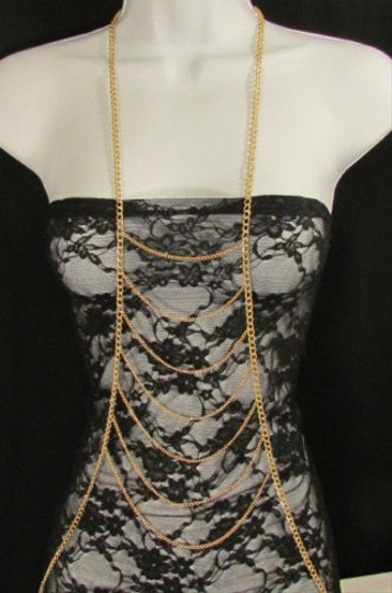 Other Women Gold Metal Waves Body Chain Long Necklace Party Style Fashion Jewelry