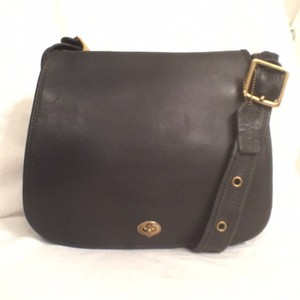 Coach Cross Body Vintage Leather Handbag Black Messenger Bag