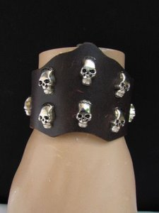 Other Men Women Brown Wide Faux Leather Fashion Trendy Bracelet Silver Skulls Studs