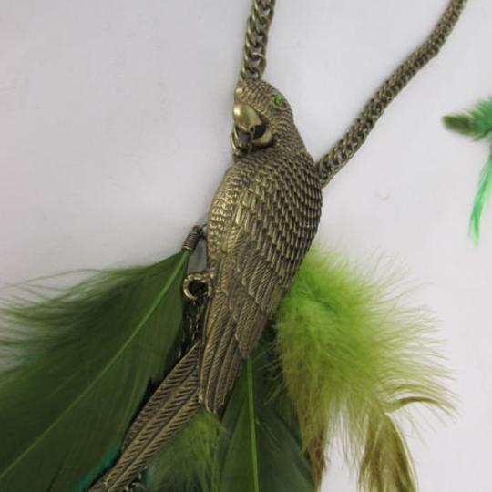 Other Women Gold Metal Chains Parrot Green Feathers Long Fashion Necklace