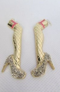 Other Women Gold Leg Metal Pink Earrings Set Silver Rhinestones Shoes