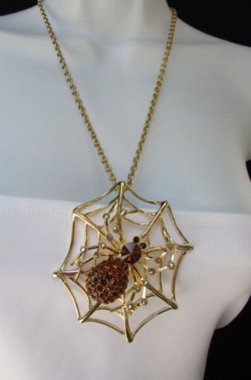 Other Women Necklace Silver Gold Pewter Spider Net Long Chains 15 Halloween