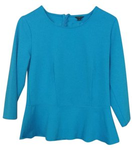 Ann Taylor Peplum Light Top Robin's Egg Blue