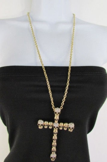 Preload https://img-static.tradesy.com/item/1929220/women-metal-mini-skulls-big-cross-silver-gold-rhinestones-necklace-0-0-540-540.jpg