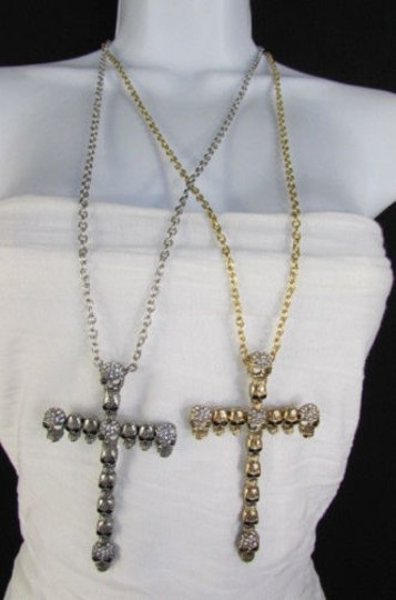 Other Women Necklace Metal Mini Skulls Big Cross Silver Gold Rhinestones