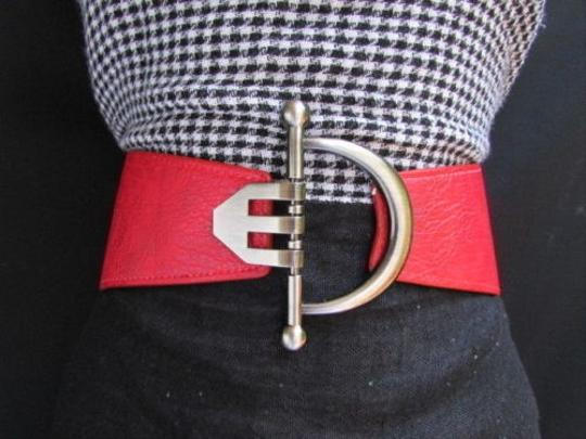 Other Women Fashion Belt Hip Waist Red Faux Leather Silver Buckle 29-36