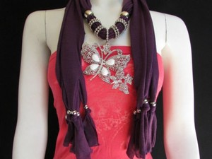 Other Women Soft Fabric Purple Fashion Scarf Long Necklace Huge Butterfly Pendant