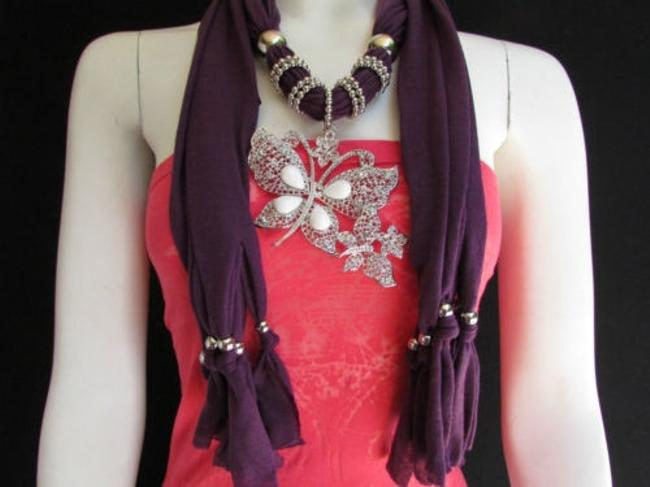 Alwaystyle4you Purple Women Fabric Fashion Long Necklace Huge Butterfly Pendant Scarf/Wrap Alwaystyle4you Purple Women Fabric Fashion Long Necklace Huge Butterfly Pendant Scarf/Wrap Image 1