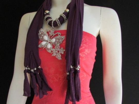 Other Women Fabric Purple Fashion Scarf Long Necklace Huge Butterfly Pendant