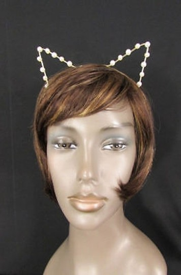 Other Women Head Band Gold Animal Ears Imitation Pearl Beads Cat Dog