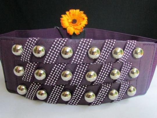 Other Women Hip Waist Elastic Purple Wide Fashion Belt Metal Studs 30-40