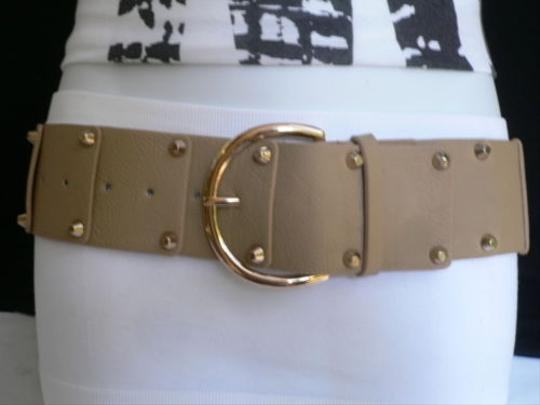 Other Women Hip Waist Elastic Beige Fashion Belt Gold Studs Buckle 23-31