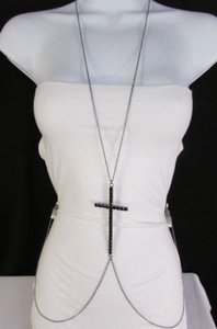 Women Black Metal Body Chain Big Cross Rhinestones Necklace Fashion Jewelry