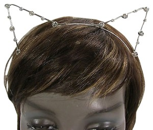 Women Head Band Silver Metal Fashion Small Ears Silver Rhinestones Beads
