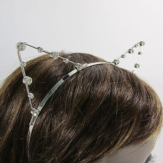 Other Women Head Band Silver Small Ears Silver Rhinestones Beads