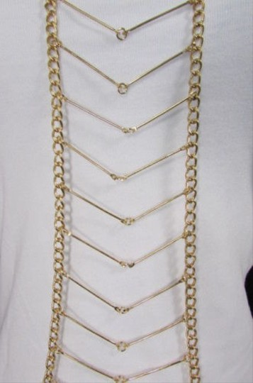 Other Women Gold Waves Metal Body Chain Front Necklace Hot Jewelry