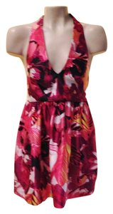 Romeo & Juliet Couture short dress pink/white/black/multi Floral Halter Crisscross Strap on Tradesy