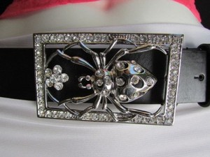 Other Women Black Leather Belt Big Spider Rhinestone Buckle 36-40