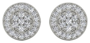 Elizabeth Jewelry 10Kt White Gold Diamond Halo Stud Earrings