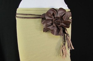 Women Summer Brown Big Flower Tie Fashion Belt One Fits All