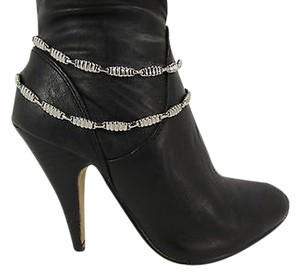 Women Fashion Boot Chain Bracelet Strap Silver Metal 2 Thin Strands Shoe Charm