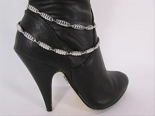 Other Women Boot Chain Bracelet Strap Silver Metal 2 Thin Strands Shoe Charm