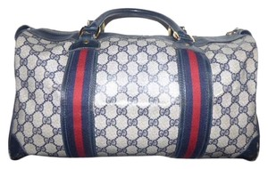Gucci Doctor's Speedy/boston Classic Red/ Stripe Satchel in shades of blue in large G logo