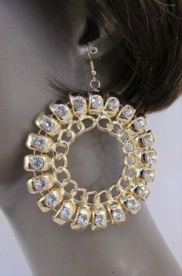 Other Women Thick Gold Metal Chains Hook Earrings Silver Rhinestones